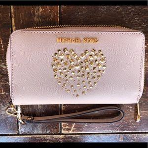 Michael Kors Pink Studded Heart Zip Phone Wallet